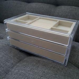 Storage & Organization - NEW acrylic jewelry box, tan velvet/clear